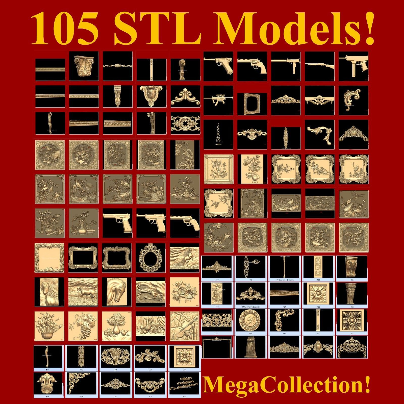 """""""Mega STL Collection"""" For CNC And 3D"""