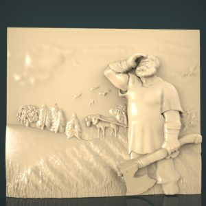 3d STL Model for CNC and 3d Printer Bas-Relief 1042
