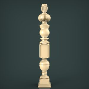 3d STL Model for CNC and 3d Printer Baluster 1432