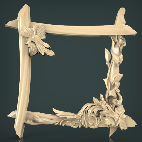 3d STL Model for CNC and 3d Printer Mirror Frame 1482