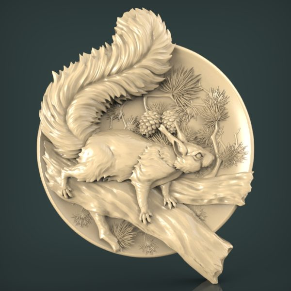 """3D STL Model for CNC and 3d Printer - Bas-Relief """"Squirrel"""""""