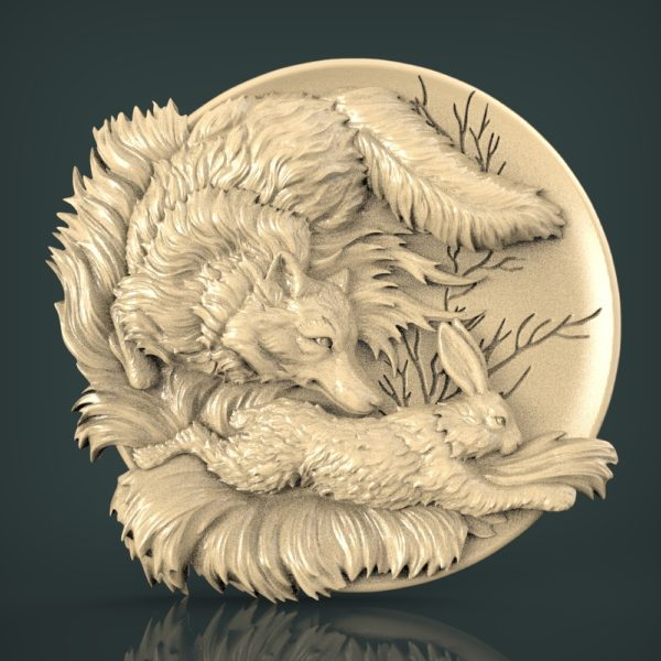 "3D STL Model for CNC and 3d Printer - Bas-Relief ""Fox and Hare"""