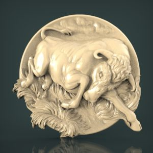 "3D STL Model for CNC and 3d Printer - Bas-Relief ""Bull"""