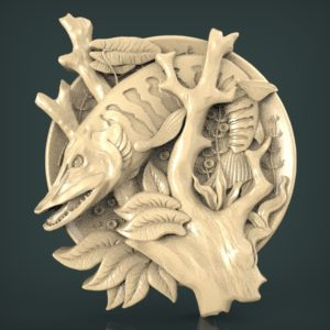"3D STL Model for CNC and 3d Printer - Bas-Relief ""Pike"""