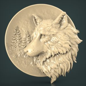 "3D STL Model for CNC and 3d Printer - Bas-Relief ""Wolf"""