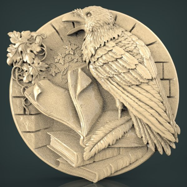 """3D STL Model for CNC and 3d Printer - Bas-Relief """"Raven"""""""