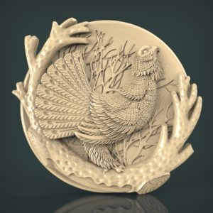 "3D STL Model for CNC and 3d Printer - Bas-Relief ""Pheasant"" )"