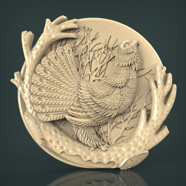 """3D STL Model for CNC and 3d Printer - Bas-Relief """"Pheasant"""" )"""