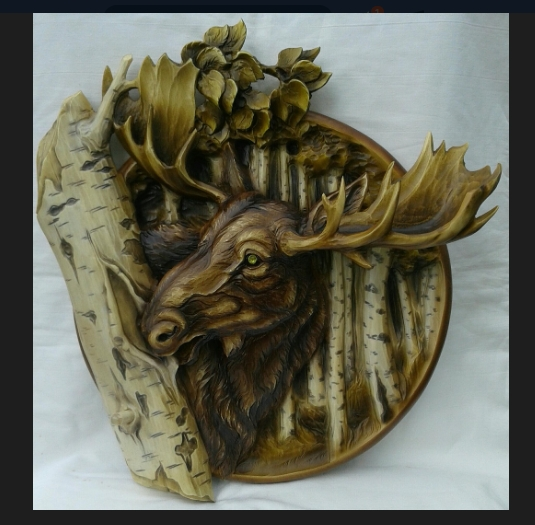 """3D STL Model for CNC and 3d Printer - Bas-Relief """"Moose"""""""