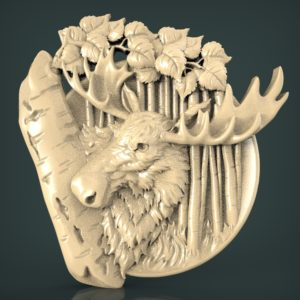 "3D STL Model for CNC and 3d Printer - Bas-Relief ""Moose"""