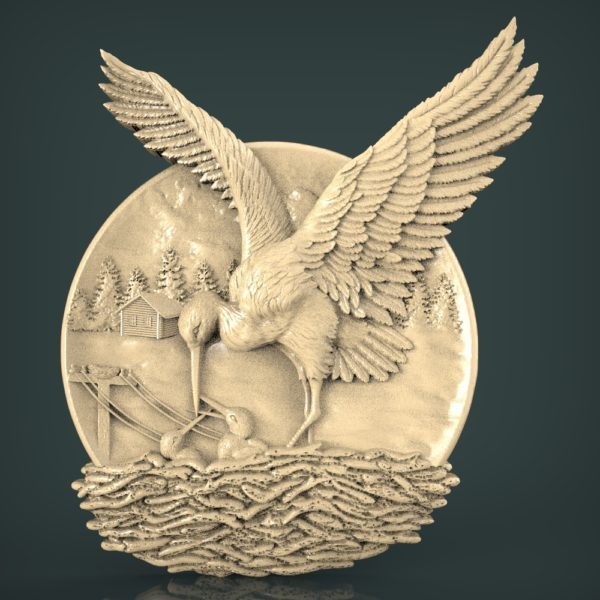 """3D STL Model for CNC and 3d Printer - Bas-Relief """"Stork"""""""