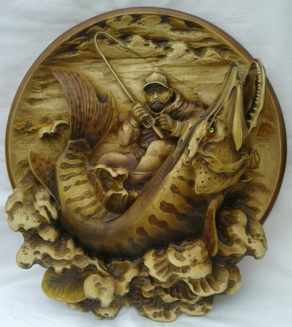 "3D STL Model for CNC and 3d Printer - Bas-Relief ""Fisherman"""
