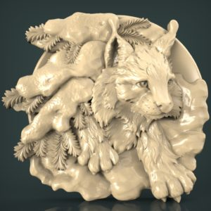 "3D STL Model for CNC and 3d Printer - Bas-Relief ""Lynx"""