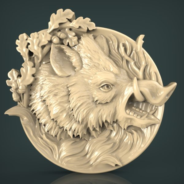 """3D STL Model for CNC and 3d Printer - Bas-Relief """"Wild boar"""""""