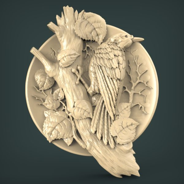 "3D STL Model for CNC and 3d Printer - Bas-Relief ""Woodpecker"""