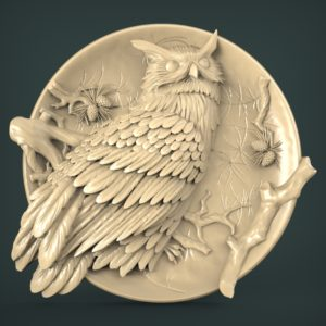 "3D STL Model for CNC and 3d Printer - Bas-Relief ""Eagle-owl"""