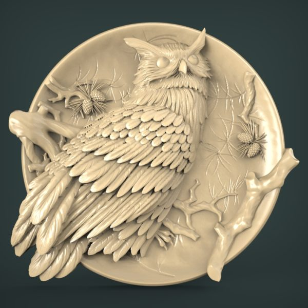 """3D STL Model for CNC and 3d Printer - Bas-Relief """"Eagle-owl"""""""