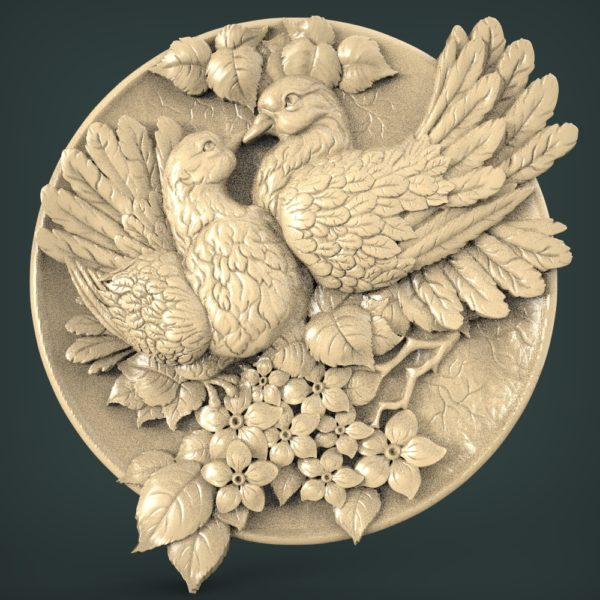 "3D STL Model for CNC and 3d Printer - Bas-Relief ""Pigeons"""