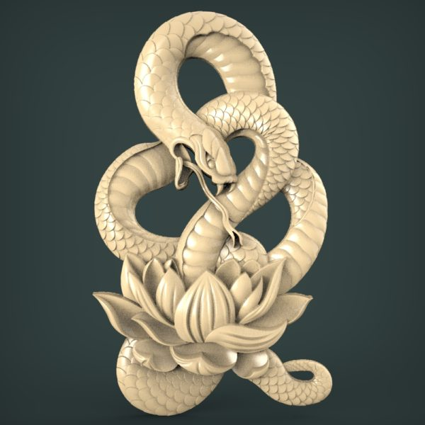"3D STL Model for CNC and 3d Printer - Bas-Relief ""Snake"""