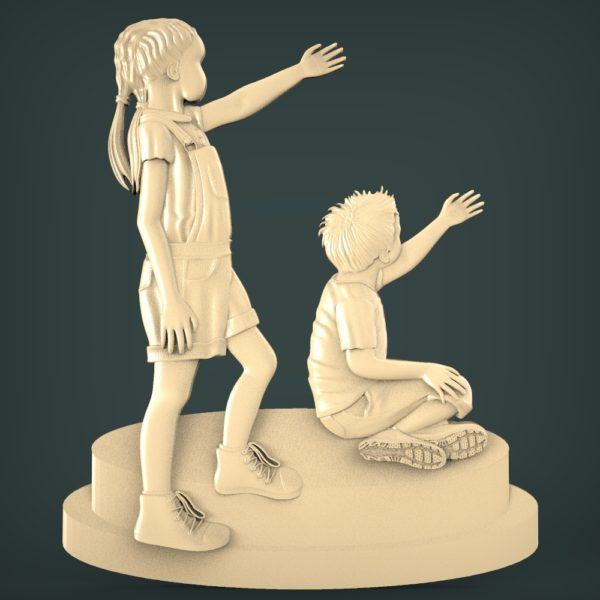"""3D STL Model for CNC and 3d Printer - Bas-Relief """"Children"""""""