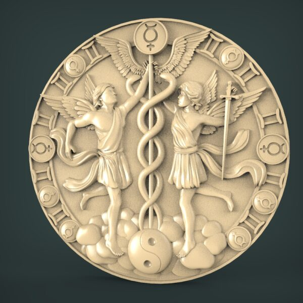 """3D STL Model for CNC and 3d Printer - Bas-Relief """"Zodiac sign Twins"""""""