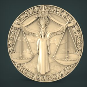 "3D STL Model for CNC and 3d Printer - Bas-Relief ""Zodiac sign Libras"""