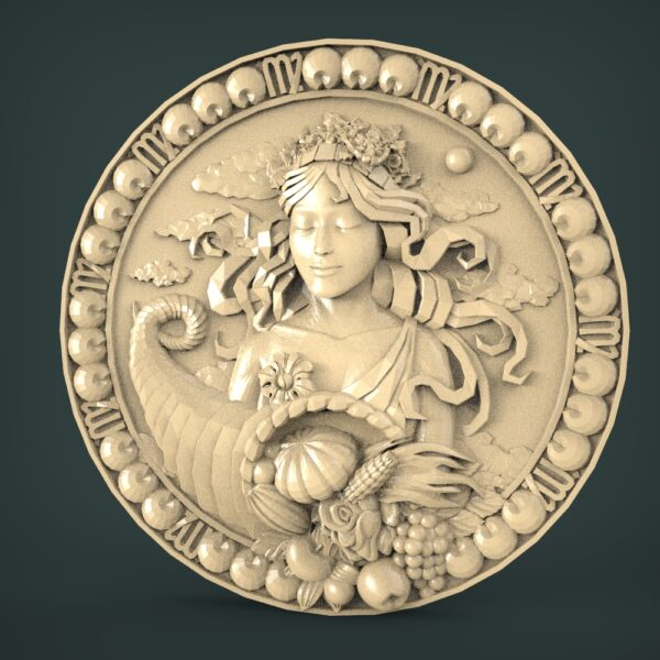 "3D STL Model for CNC and 3d Printer - Bas-Relief ""Zodiac sign Virgo"""