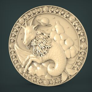 "3D STL Model for CNC and 3d Printer - Bas-Relief ""Zodiac sign Capricorn"""