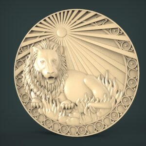 "3D STL Model for CNC and 3d Printer - Bas-Relief ""Zodiac sign Lion"""