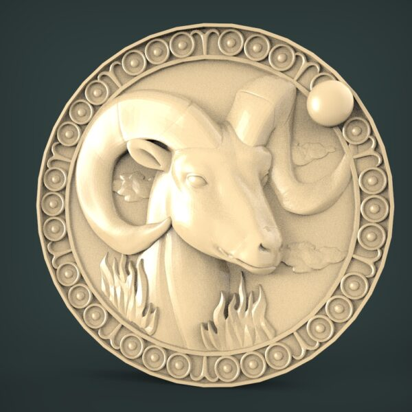 "3D STL Model for CNC and 3d Printer - Bas-Relief ""Zodiac sign Aries"""