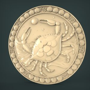 "3D STL Model for CNC and 3d Printer - Bas-Relief ""Zodiac sign Cancer"""