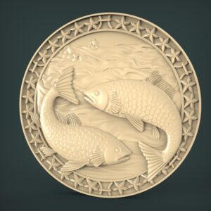 "3D STL Model for CNC and 3d Printer - Bas-Relief ""Zodiac sign Fishes"""