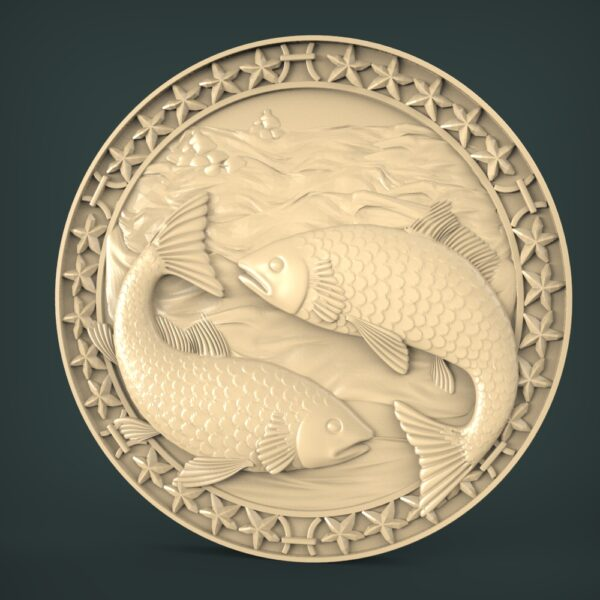 """3D STL Model for CNC and 3d Printer - Bas-Relief """"Zodiac sign Fishes"""""""