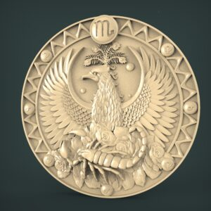 "3D STL Model for CNC and 3d Printer - Bas-Relief ""Zodiac sign Scorpio"""