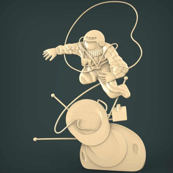 """3D STL Model for CNC and 3d Printer - Bas-Relief """"Astronaut"""""""