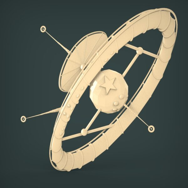 """3D STL Model for CNC and 3d Printer - Bas-Relief """"Space satellite"""""""