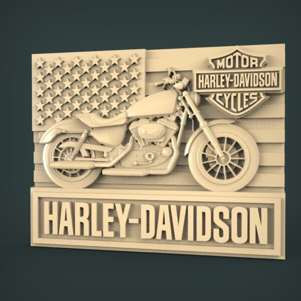 "3D STL Model for CNC and 3d Printer - Bas-Relief ""Harley Davidson"""