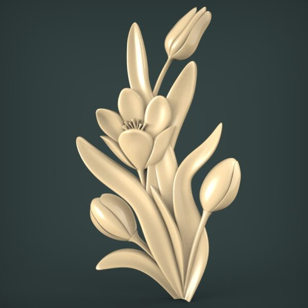 """3D STL Model for CNC and 3d Printer - Bas-Relief """"Flower Tulip"""""""