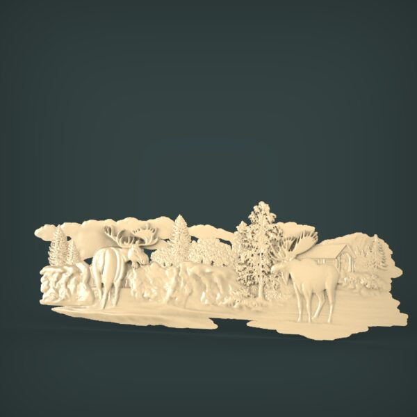 """3D STL Model for CNC and 3d Printer - Bas-Relief """"Deer"""""""