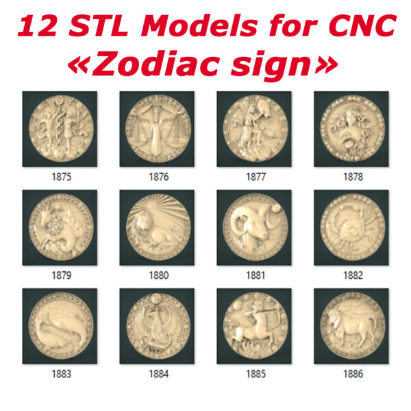 """Zodiac sign Collection"" - 12 3D STL Models for CNC and 3D Printer"