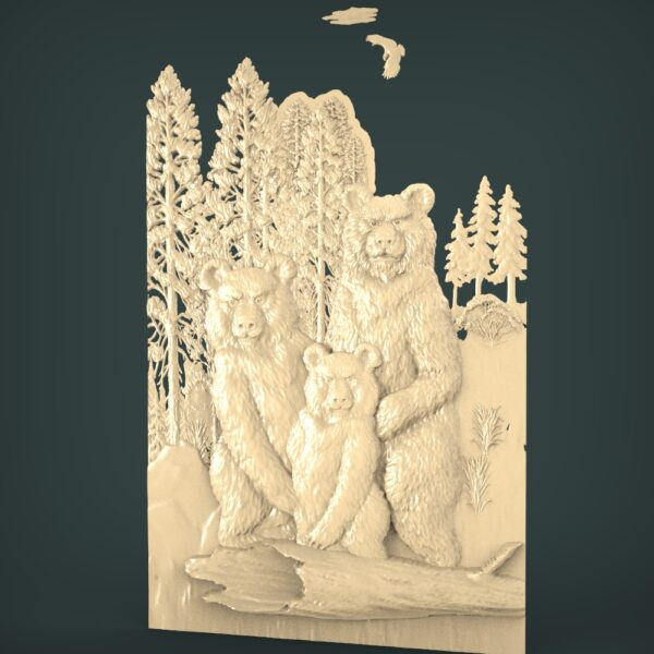 """3D STL Model for CNC and 3d Printer - Bas-Relief """"Bears"""""""