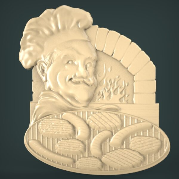 "3D STL Model for CNC and 3d Printer - Bas-Relief ""Cook"""