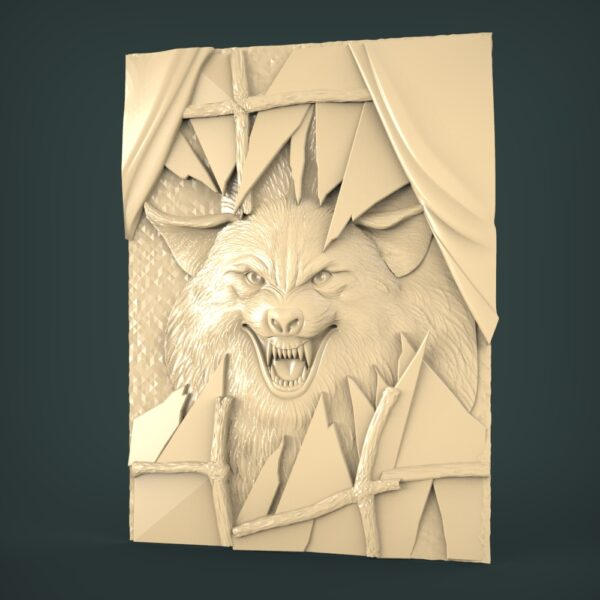"""3D STL Model for CNC and 3d Printer - Bas-Relief """"Wolf"""""""