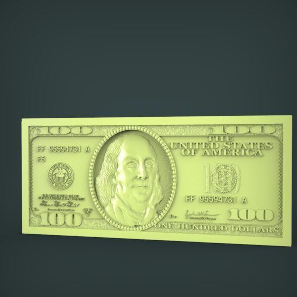 "3D STL Model for CNC and 3d Printer - Bas-Relief ""100 dollars"""