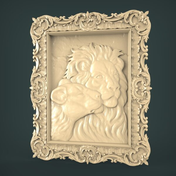 """3D STL Model for CNC and 3d Printer - Bas-Relief """"Lion and lioness"""""""