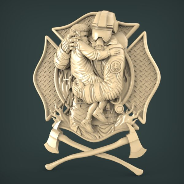 """3D STL Model for CNC and 3d Printer - Bas-Relief """"Firefighter"""""""
