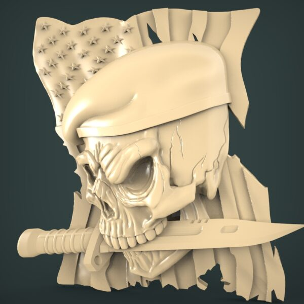 """3D STL Model for CNC and 3d Printer - Bas-Relief """"Skull"""""""