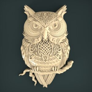 "3D STL Model for CNC and 3d Printer - Bas-Relief ""Owl"""