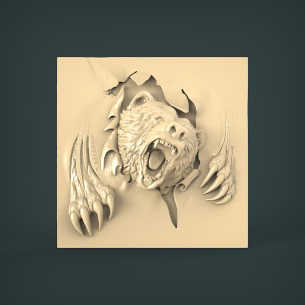 """3D STL Model for CNC and 3d Printer - Bas-Relief """"Bear"""""""