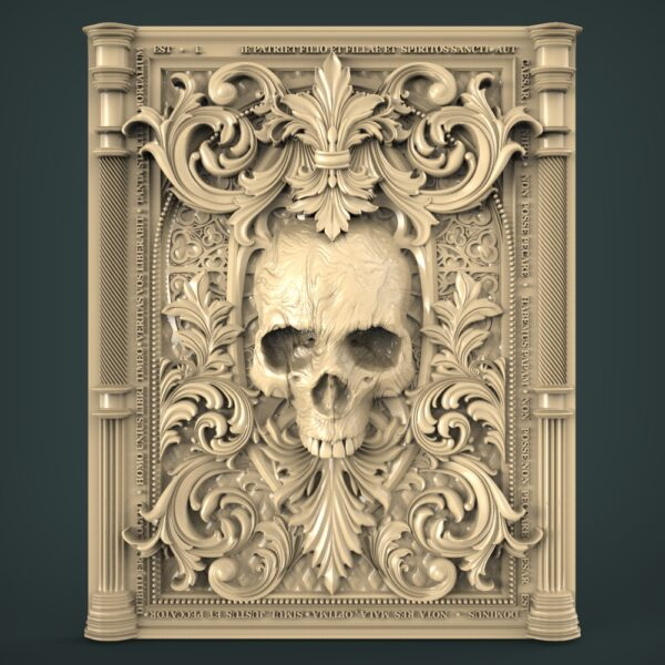 """3D STL Model for CNC and 3d Printer - Bas-Relief """"Skull"""" (1929)"""
